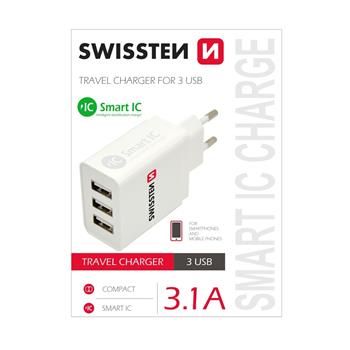 SWISSTEN SÍŤOVÝ ADAPTÉR SMART IC 3x USB 3,1A POWER BÍLÝ