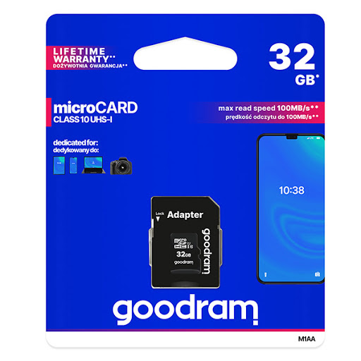 Goodram Micro SDHC 32GB + SD adaptér, Class 10 UHS-I